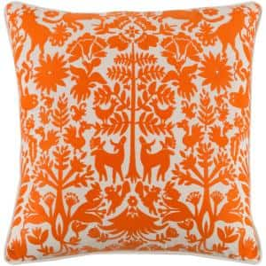 Larosa Orange Geometric Polyester 18 in. x 18 in. Throw Pillow