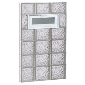 23.25 in. x 40.5 in. x 3.125 in. Frameless Ice Pattern Vented Glass Block Window