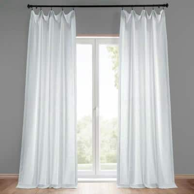 Rice White Solid Rod Pocket Light Filtering Curtain - 50 in. W x 96 in. L