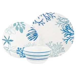 Coastline Blue and White 12-Piece Melamine Dinnerware Set with Service for 4