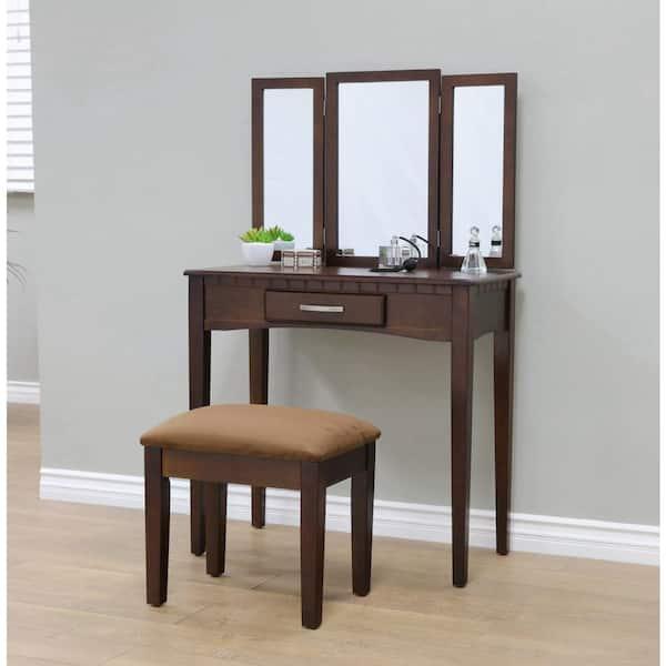 Homecraft Furniture 3 Piece Espresso, Espresso Vanity Set With Lights
