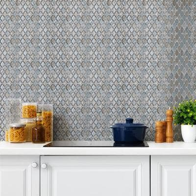 Whirlwind Blue 10 in. x 11.5 in. x 8mm Interlocking Textured Glossy Glass Mosaic Tile (0.798 sq. ft./Each)