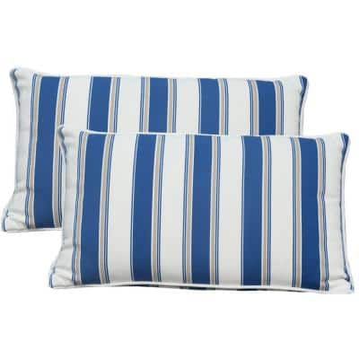 Direct Wicker Canvas Blue Stripe Square Outdoor Throw Pillow Set Of 2 Cushion 9 The Home Depot