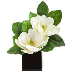 Indoor Magnolia Artificial Arrangement in Black Vase