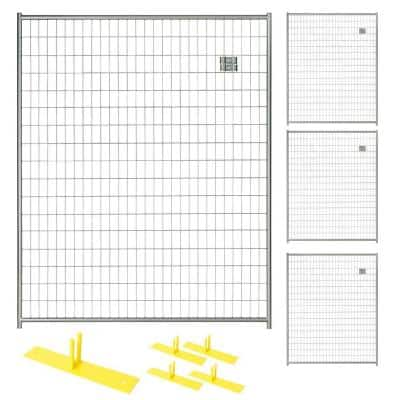 6 ft. x 20 ft. 4-Panel Silver Powder-Coated Steel Welded Wire Temporary Fencing