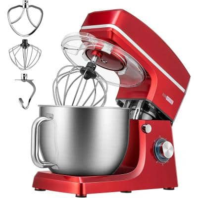 7.5 qt. 6-Speed Red Tilt-Head Electric Stand Mixer with Accessories and ETL Listed