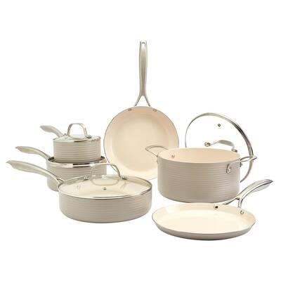 Monaco 10-Piece Fog Aluminum Non-Stick Cookware Set