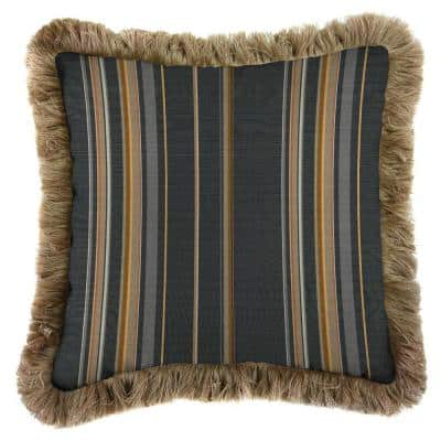 Sunbrella Stanton Greystone Square Outdoor Throw Pillow with Heather Beige Fringe