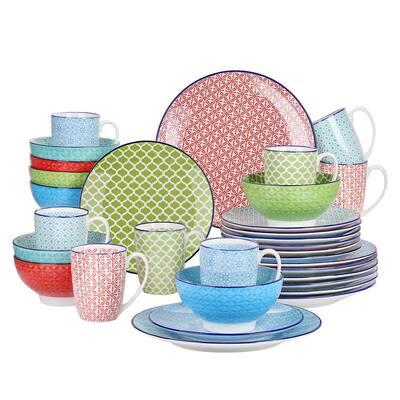 Macaron 32-Pieces Japanese Style Porcelain Multi-Colour Crockery Dinner Set (Service for 8)