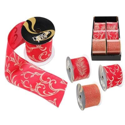 4 in. x 30 ft. Gold on Red Jumbo Wire Edge Xmas Ribbon (6-Pack)