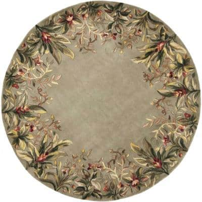 Bernadette Sage 7 ft. Round Abstract Wool Area Rug