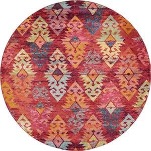 Sedona Desert Rust Red/Multi-Color 8 ft. Global Round Rug