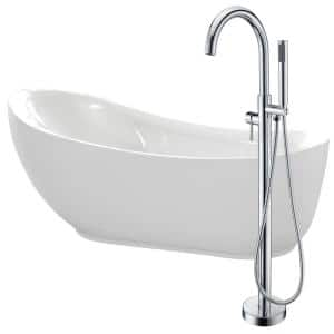 Talyah 71 in. Acrylic Flatbottom Non-Whirlpool Bathtub in White with Kros Faucet in Polished Chrome