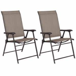 Brown Folding Metal Outdoor Dining Chair (2-Pack)