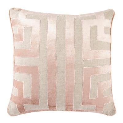 Ordella Beige/ Pink Geometric Down Throw Pillow 22 inch