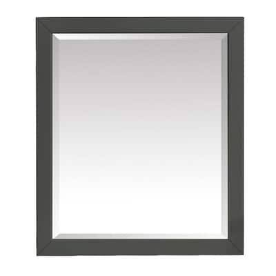 Windlowe 28 in. W x 32 in. H Framed Rectangular Beveled Edge Bathroom Vanity Mirror in Gray