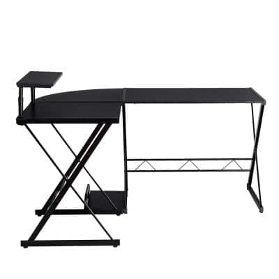 58 in. Black Computer Gaming Desk w/ Monitor Stand and Host Tray