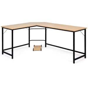Natural L-Shaped 66 in. Computer Desk Corner Workstation Study Gaming Table Home Office
