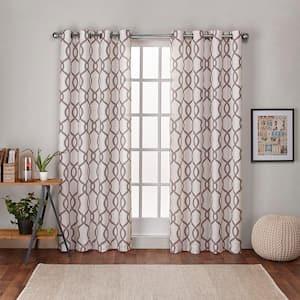 Natural Trellis Linen Grommet Room Darkening Curtain - 54 in. W x 84 in. L