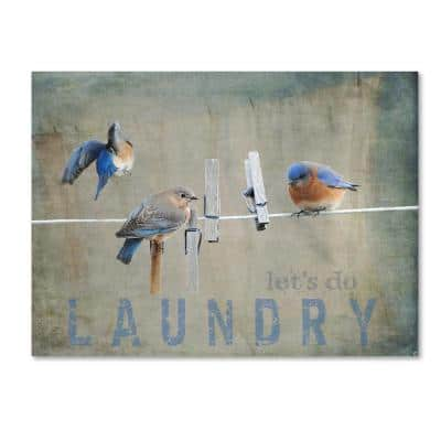 24 in. x 32 in. Laundry Day Bluebirds by Jai Johnson