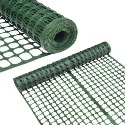 4 ft. H x 100 ft. L Recyclable Plastic Garden Fence Safety Netting Barrier, Dark Green