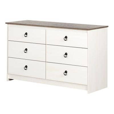 Plenny 6-Drawer White Wash and Weathered Oak Dresser