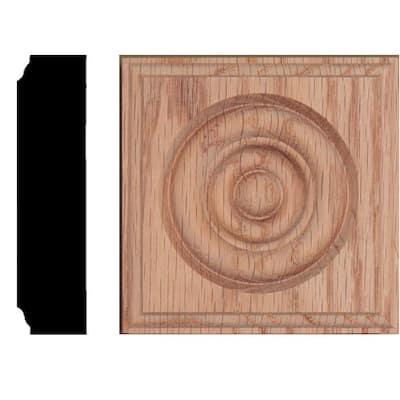 3-1/2 in. x 3-1/2 in. x 7/8 in. Oak Rosette Moulding