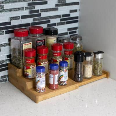 Expandable Natural 3-Tier Step Seasoning and Spice Organizer
