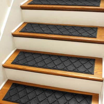 Argyle 8.5 in. x 30 in Stair Treads (Set of 4) Charcoal