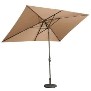 10 ft. Aluminum Rectanglar Market Patio Umbrella in Brown