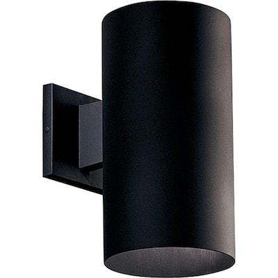"Cylinder Collection 6"" Black  Modern Outdoor  Wall Lantern Light"