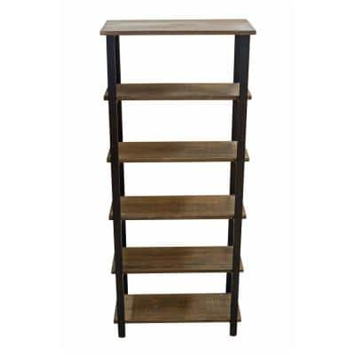 Pomona 70 in. Natural/Black Metal 5-shelf Etagere Bookcase
