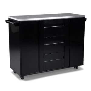Linear Black Kitchen Cart with Stainless Steel Top