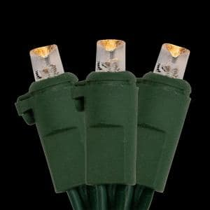 24.5 ft. 50-Light LED Warm White Wide Angle Christmas Lights with Green Wire
