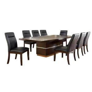 Lawrence Dark Cherry 9-Piece Table Set