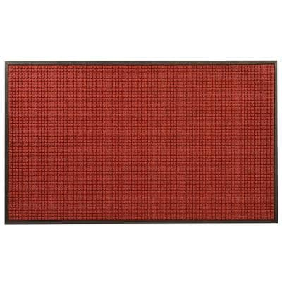 Guzzler Red/Black 48 in. x 120 in. Rubber-Backed Entrance Mat