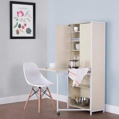 Armoire 58.5 in. H x 24.5 in. W x 12 in. D  MDF Craft or Home Office Storage Cabinet with Fold-Out Table, White / Birch