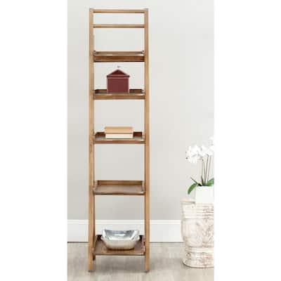71.3 in. Oak Wood 5-shelf Ladder Bookcase with Open Back