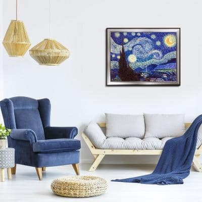 """45 in. x 35 in. """"Starry Night with Magnesium Silver Frame """" by Vincent Van Gogh Framed Wall Art"""