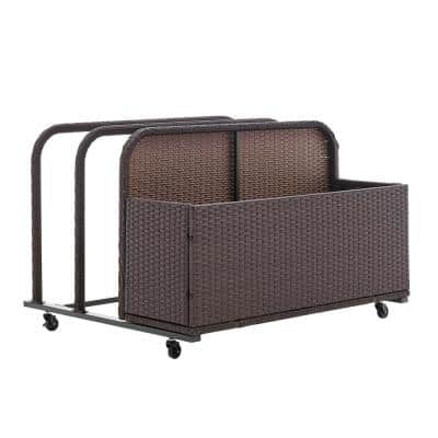 46 in. L x 32 in. W Rolling Brown Wicker Float Caddy Table Furniture Dolly Pool Toy Pool Float Cart Storage Organizer