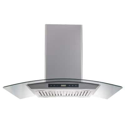 36 in. Island Range Hood in Stainless Steel with Tempered Glass and Baffle Filters