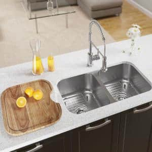Undermount Stainless Steel 33 in. Double Bowl Kitchen Sink with Additional Accessories