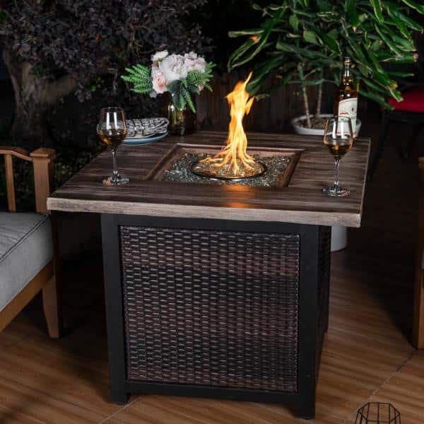 Nuu Garden 34 In X 26 In H 50 000 Btu Square Pe Rattan Outdoor Propane Gas Fire Pit Table Af007 The Home Depot