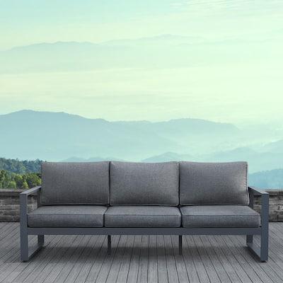 Baltic Gray Aluminum Outdoor Sofa with Gray Cushions