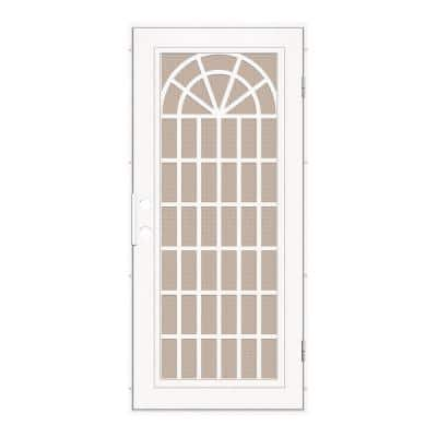 30 in. x 80 in. Trellis White Left-Hand Surface Mount Security Door with Desert Sand Perforated Metal Screen