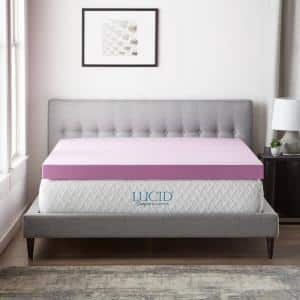 4 Inch Lavender and Aloe Infused Memory Foam Topper -  Queen