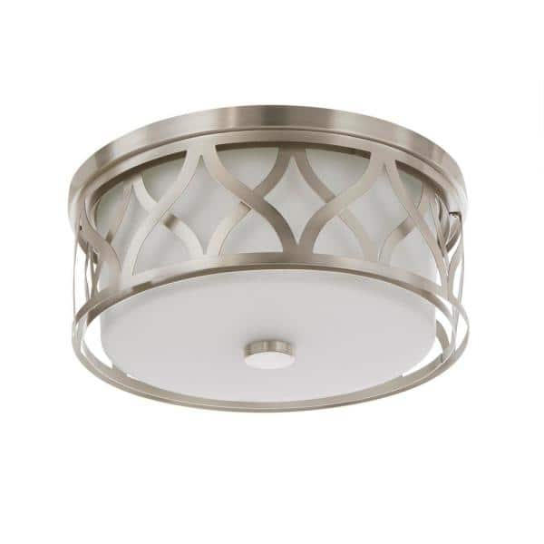 Home Decorators Collection 3 Light Brushed Nickel Flush Mount With Etched White Glass 23956 The Home Depot