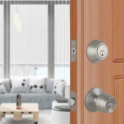 Brandywine Stainless Steel Entry Knob and Double Cylinder Deadbolt Combo Pack