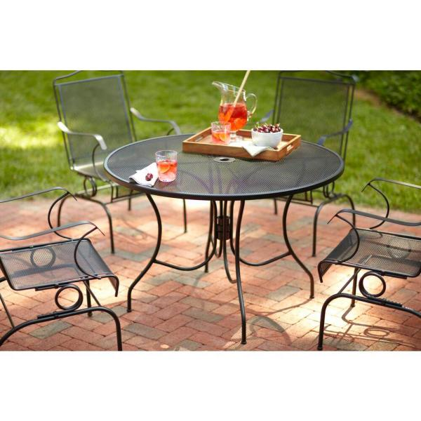 Round Patio Dining Table, Wrought Iron Patio Furniture End Caps Home Depot