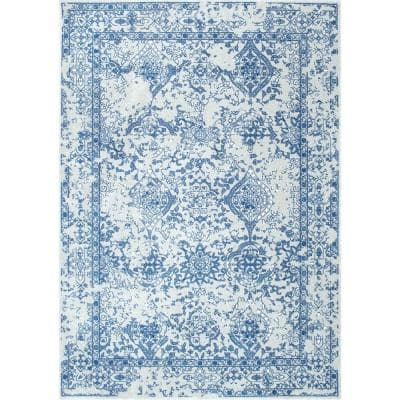 Odell Distressed Persian Light Blue 6 ft. Square Rug